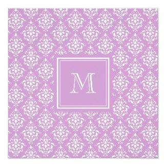 Purple Damask Pattern 1 with Monogram 13 Cm X 13 Cm Square Invitation Card