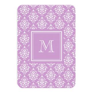 "Purple Damask Pattern 1 with Monogram 3.5"" X 5"" Invitation Card"