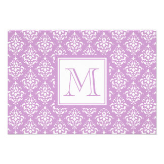 Purple Damask Pattern 1 with Monogram Announcements