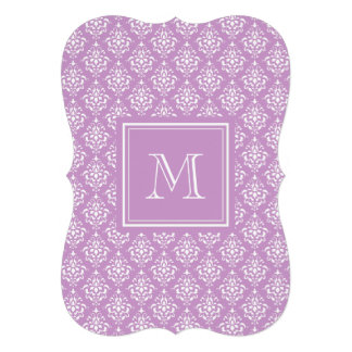 Purple Damask Pattern 1 with Monogram Custom Invitation