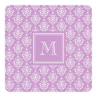 Purple Damask Pattern 1 with Monogram Invitation