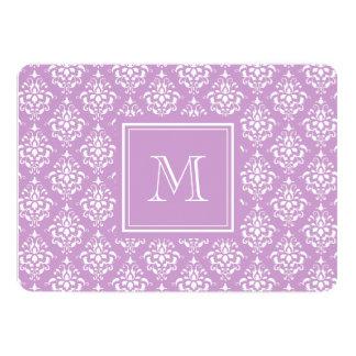 Purple Damask Pattern 1 with Monogram 5x7 Paper Invitation Card