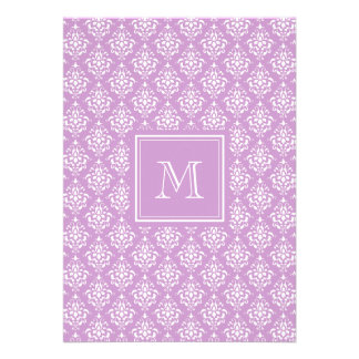 Purple Damask Pattern 1 with Monogram Custom Invites