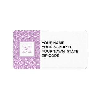 Purple Damask Pattern 1 with Monogram Address Label