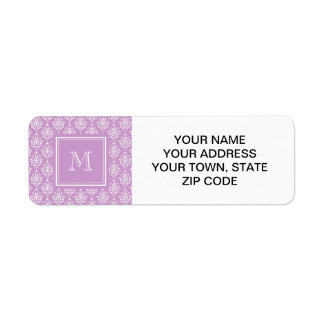 Purple Damask Pattern 1 with Monogram Return Address Label