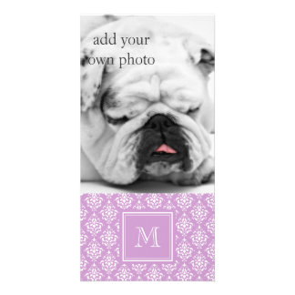 Purple Damask Pattern 1 with Monogram Photo Greeting Card