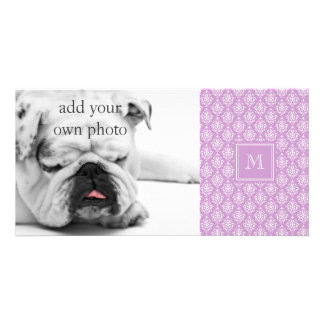Purple Damask Pattern 1 with Monogram Customized Photo Card