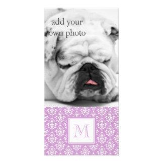 Purple Damask Pattern 1 with Monogram Personalized Photo Card