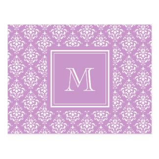 Purple Damask Pattern 1 with Monogram Post Card
