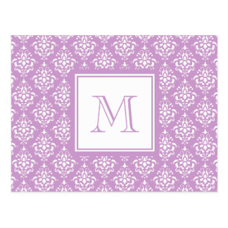 Purple Damask Pattern 1 with Monogram Postcard