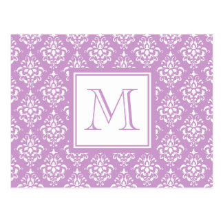 Purple Damask Pattern 1 with Monogram Post Cards