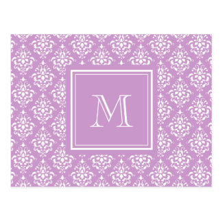 Purple Damask Pattern 1 with Monogram Post Card