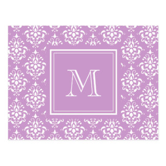 Purple Damask Pattern 1 with Monogram Postcards