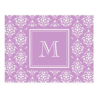 Purple Damask Pattern 1 with Monogram Postcards