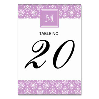 Purple Damask Pattern 1 with Monogram Table Cards