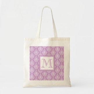 Purple Damask Pattern 1 with Monogram Tote Bag