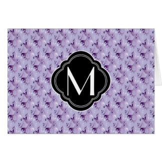 Purple Damask Pattern and Monogram Greeting Cards