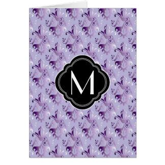 Purple Damask Pattern and Monogram Greeting Card