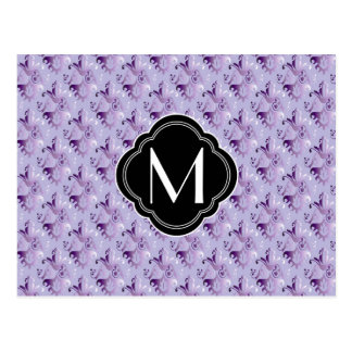 Purple Damask Pattern and Monogram Post Card