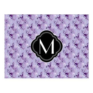 Purple Damask Pattern and Monogram Postcard