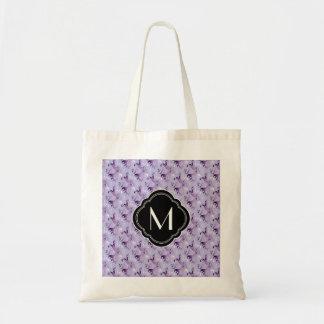 Purple Damask Pattern and Monogram Tote Bag