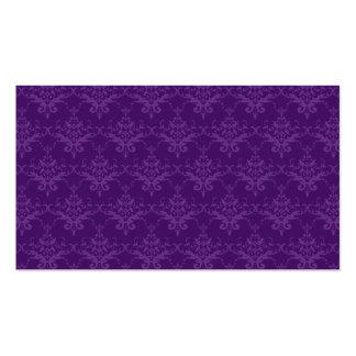 Purple damask pattern business card templates