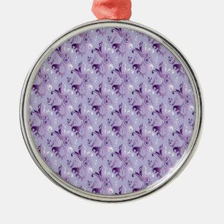 Purple Damask Pattern Ornaments