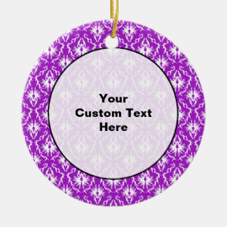 Purple Damask Pattern with White. Christmas Ornament