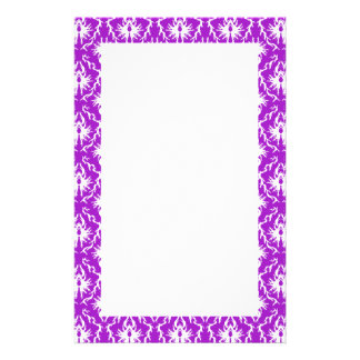 Purple Damask Pattern with White. Stationery