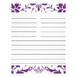 Purple Damask Personalised Matching Recipe Paper Flyer Design