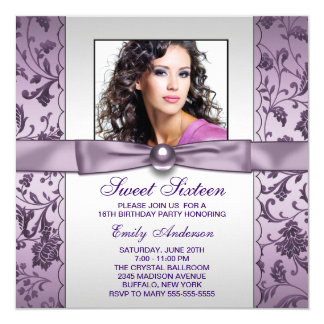Purple Damask Photo Sweet Sixteen Birthday Party Card