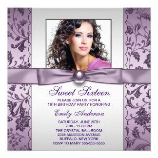 Purple Damask Photo Sweet Sixteen Birthday Party Announcement