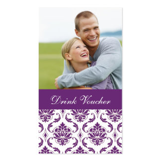 Purple Damask Photo Wedding Drink Voucher Pack Of Standard Business Cards