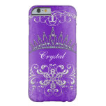 Purple Damask Princess Tiara Personalised Case Barely There iPhone 6 Case