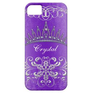 Purple Damask Princess Tiara Personalized Case