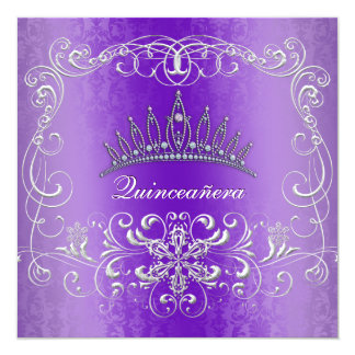 Purple Damask Quinceanera Diamond Tiara Invite