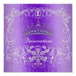 """Purple Damask Quinceanera Diamond Tiara Invite 5.25"""" Square Invitation Card"""
