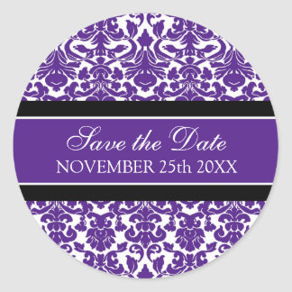 Purple Damask Save the Date Envelope Seal Round Sticker