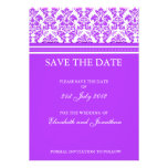Purple Damask Save The Date Postcard Personalised Announcements