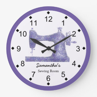 Purple Damask Sewing Machine Wall Clocks