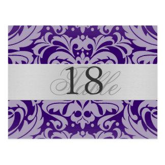 Purple Damask Silver Metal Table Number PostCard