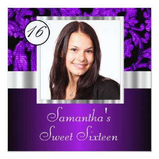 Purple damask sweet sixteen 13 cm x 13 cm square invitation card