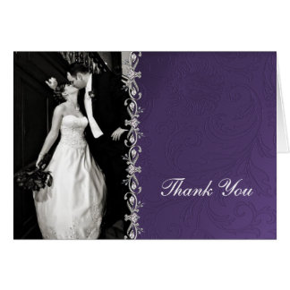 Purple Damask Thank You Card