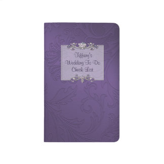 Purple Damask Wedding Check List Pocket Journal