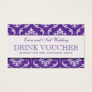 Purple Damask Wedding Drink Voucher for Reception