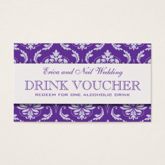 Purple Damask Wedding Drink Voucher for Reception Business Card