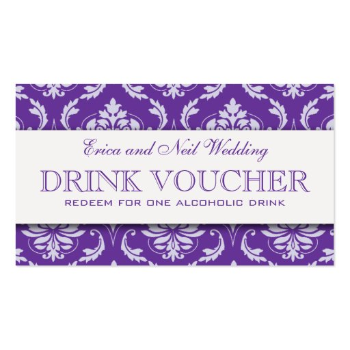 Purple Damask Wedding Drink Voucher for Reception Business Card Templates