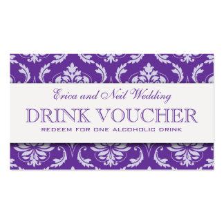 Purple Damask Wedding Drink Voucher for Reception Pack Of Standard Business Cards
