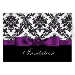purple  damask wedding Invitations Card