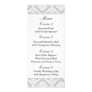 purple damask Wedding menu Rack Card Template